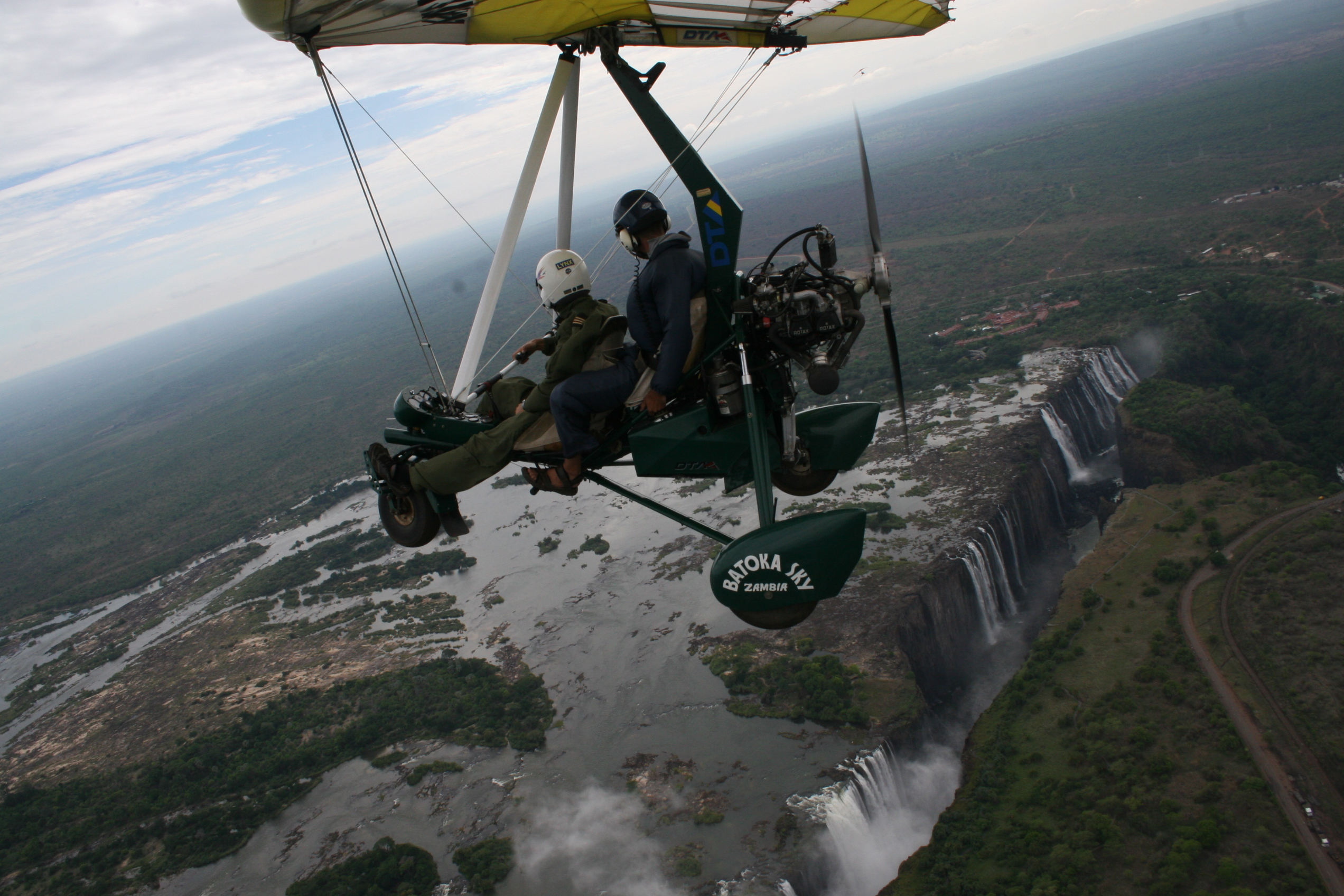 Glyn in microlight over Vic Falls